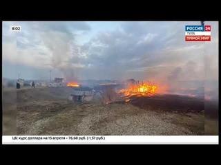 Из-за пала травы в Туле сгорел пейнтбольный клуб