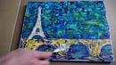 Eiffel tower bridge Demo Art with Palette Knife Acrylics Colors 3 /Tchaikovsky - Waltz of Flowers