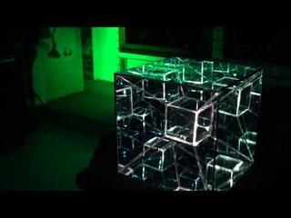 Tesseract LED Infinty Mirror Art Sculpture by Nicky Alice 4K Hypercube