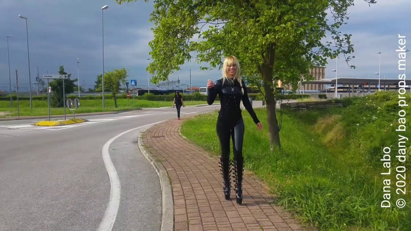 DANA LABO - the woman in black. New collection latex catsuit by Simon-o and shiny boots
