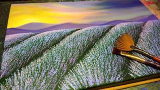 КАК НАРИСОВАТЬ ЛАВАНДУ АКРИЛОМ.  ПЕЙЗАЖ ЛАВАНДОВОЕ ПОЛЕ и красивое небо - Пошаговый Видеоурок 🌸