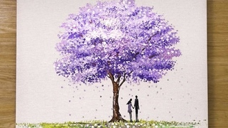 How to paint a 'Jacaranda' Tree in Acrylic / Cotton Swabs Painting Technique #453