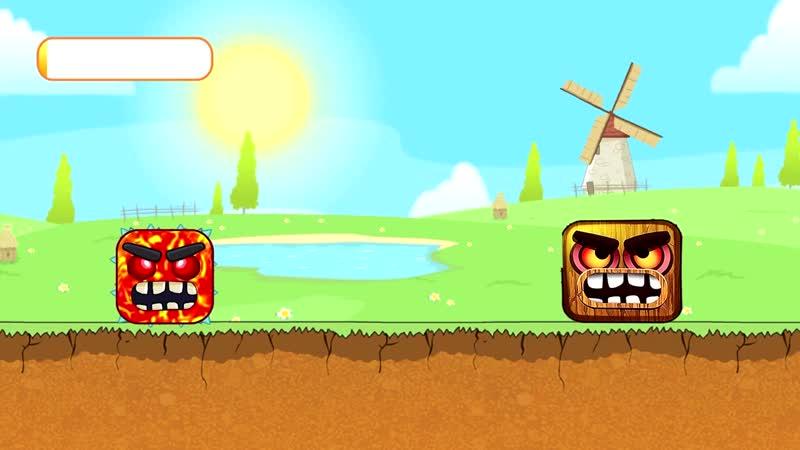 В игре красный шарик 4 Лавовый квадрат против нового Босса Red Ball 4 от котика