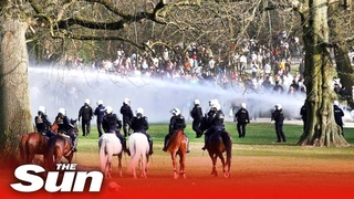 Police use water cannons & tear gas to disperse Belgium park party