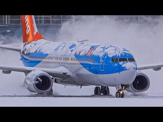 Spectacular Heavy SNOW Arrivals, Departures & DE-icing   Plane Spotting at Vancouver YVR