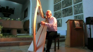 Luc Vanlaere plays the 'Celtic Harp' at St Trudo Abbey