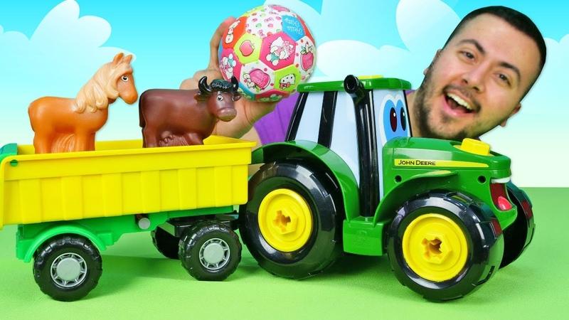 John Deere ile araba oyunları Oyuncak traktör çiftlikte Okul öncesi eğitici video