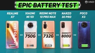 Redmi Note 10 Pro Max vs Mi 10i, Realme X7, Narzo 30 Pro, Poco X3 Battery Drain Test   Charging Test