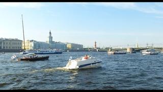 Санкт-Петербург перед Днём ВМФ России, взгляд на город с Невы. Saint-Petersburg.