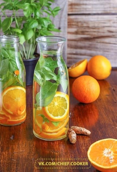 Освежающий напиток с апельсином и базиликом