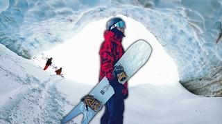 Snowboarding Into The Massive Glacier Ice Cave