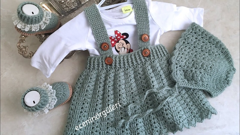 Tığ işi Askılı Bebek Eteği Kolay ve Güzel Salopet Bebek Elbise