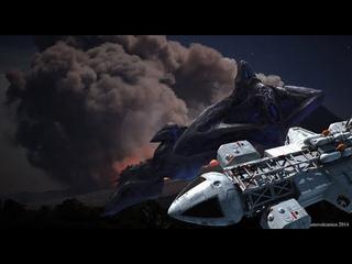 истребитель F-22 Raptor сбил нло тарелку но уйти он не смог !