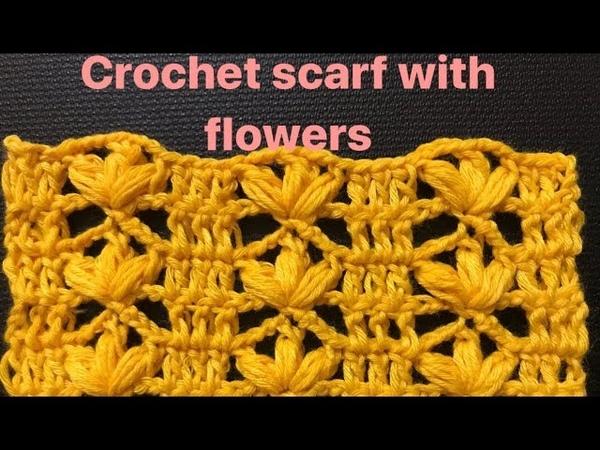 Crochet scarf Hướng dẫn móc khăn len với hoạ tiết hoa 3 cánh