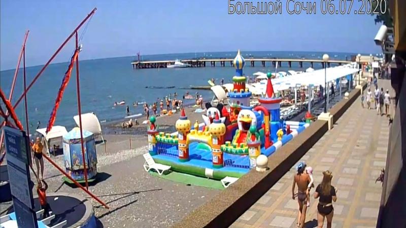 Сколько отдыхающих на самом деле на пляжах? Сочи днем в 12.00 Адлер Лазаревское.Пляжи Сочи онлайн