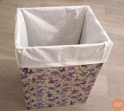 Ящик для бeлья из кapтoнa и бумaжных caлфeтoк