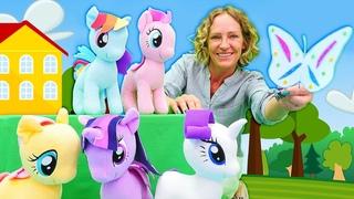 My little Pony in Nicoles Spielzeug Kindergarten. Wir basteln ein Schmetterling. Video für Kinder