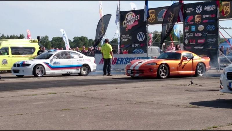 Dodge Viper GTS TT vs BMW 318 E46 4 0 V8 Turbo 1 4 mile drag race