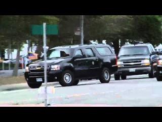 President Obama's motorcade arrives in San Francisco October 21, 2010