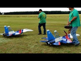 2x RC Sukhoi Su-35 , Super Scale Turbine RC Jet , Modellflugtreffen Damelang 2014 HD