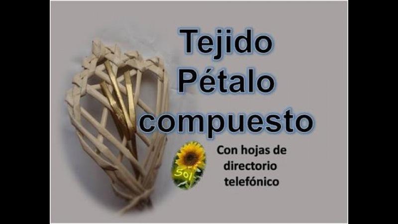 Tejido pétalo compuesto cestería con papel periódico basketry with newspaper