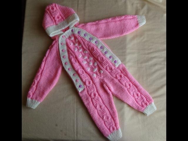 Розовый комбинезон спицами. Часть 4 - вяжем планки и отделку