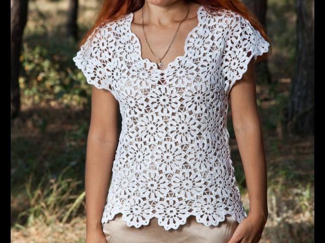 Как связать блузку Кофточка летняя 1 часть Crochet blouse summer вязание крючком из мотивов