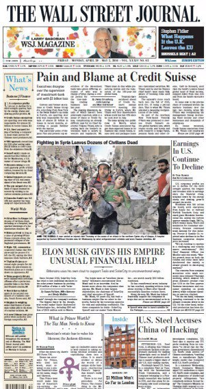 The Wall Street Journal Europe - 29 April 2016