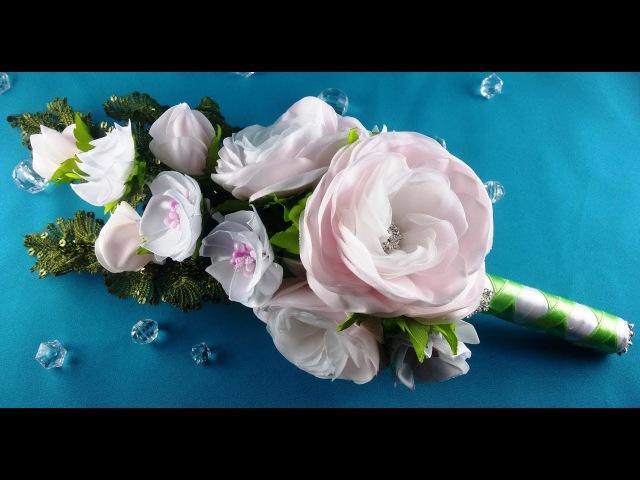Bridal bouquet hairpins flowers Ramo de boda flores barrettes Букет невесты цветы заколки МК