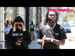 Offset From Migos & Cardi B. Go Shopping At Balenciaga On Rodeo Dr. In Beverly Hills