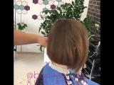 Процесс стрижки сложных волос в студии