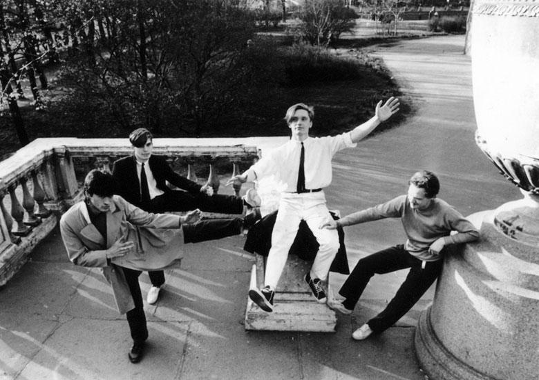 Группа «Кино» у Михайловского замка. 1984.
