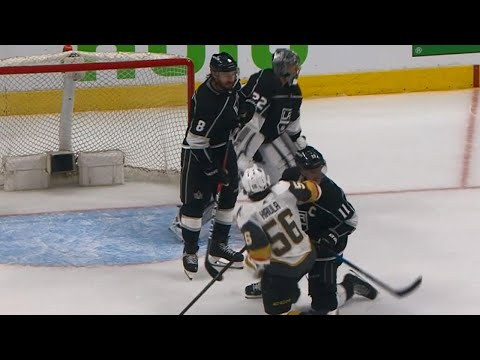 Golden Knights' Haula appears to butt end Kopitar in the face