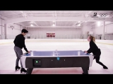 ashley and nathan plaing air hockey