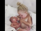 Cute Kid Breastfeeding Her Newborn Sister_HIGH.mp4