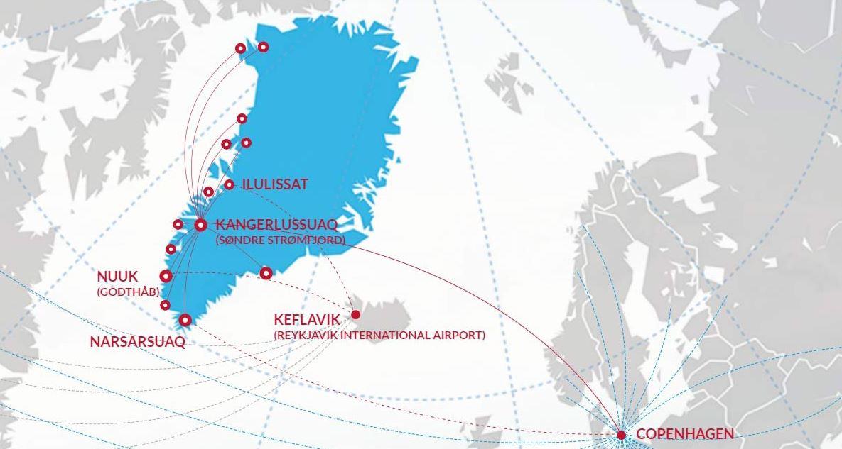 Карта полетов Air Greenland