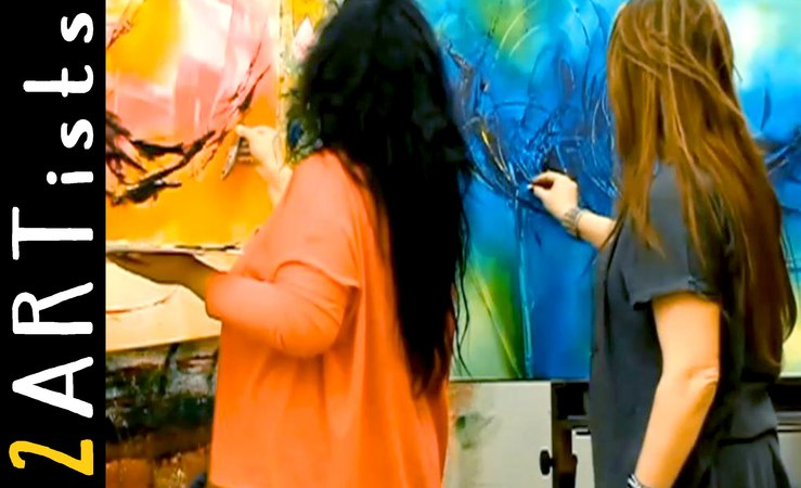 Acrylic painting abstract Speedpainting Demo watch 2 artists by zAcheR fineT