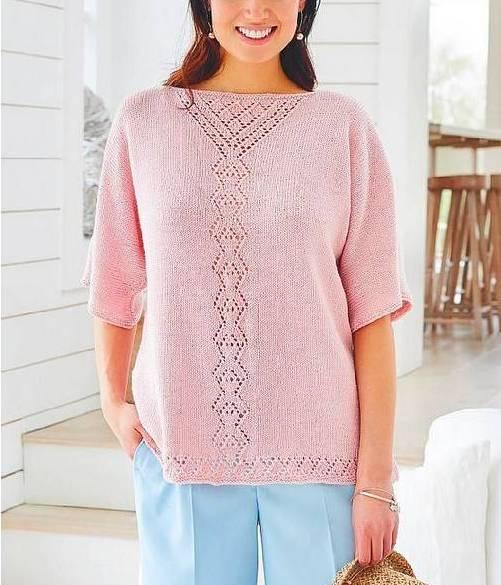 Летний пуловер с ажурной панелью спицами