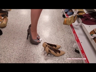 Shoeplay In Store Shoe Swapping in Pantyhose