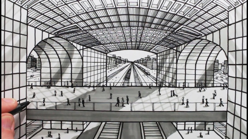 How to Draw 1-Point Perspective: Railway Building