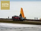 В Турции самолет съехал со взлетно-посадочной полосы и едва не упал в море с обрыва