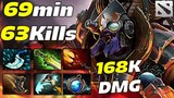 TINKER 63 KILLS in 69 min EPIC GAME 168 000 Damage Dota 2