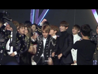 HD Fancam 170114 BTS V, EXO Baekhyun  Minho Reaction to Bi Rain - Rainism @ G