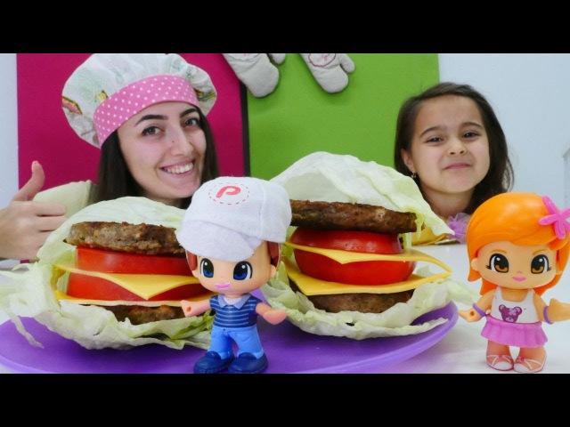 Mini Mutfak Pinyponlara ekmeksiz sağlıklı hamburger yapalım