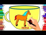 TEACH CHILDREN DRAW HORSE &amp FACEBOOK ON CUP COLORING BOOK KIDS LEARN ENGLISH COLOR PAGES VIDEO#184