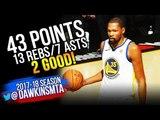Kevin Durant Full Highlights 2018 Finals GM3 Golden State Warriors vs Cavs - 43-13-7! FreeDawkins