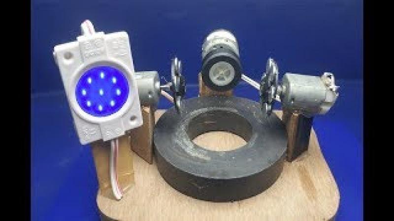 How to Make free energy light 12v Bulbs using Motor with Magnet - Free energy