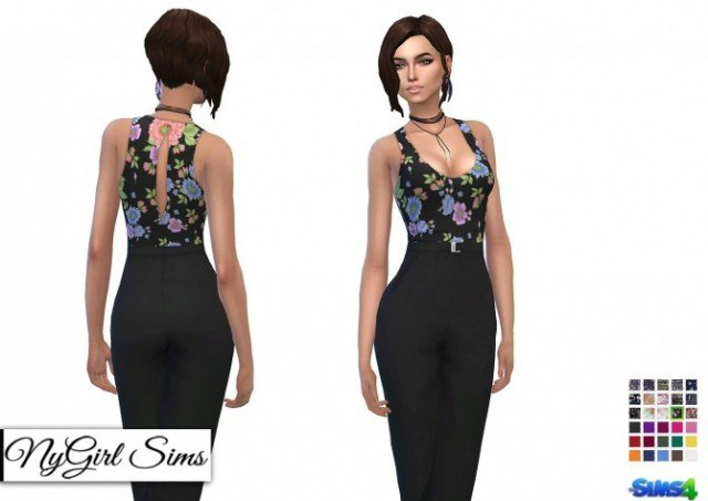 Tank Jumpsuit with High Waist Belt by NyGirl