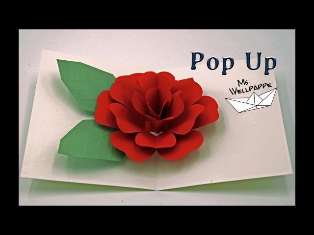 Pop Up Karte Rose 🌹 basteln mit Papier - Muttertagsgeschenke basteln -DIY