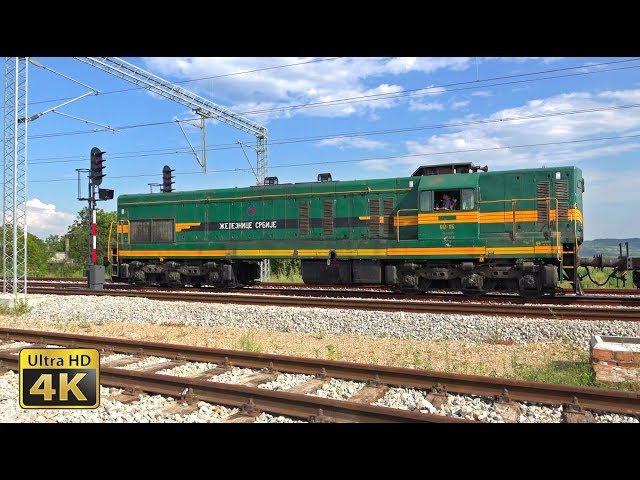 Rail traffic in Serbia - Belgrade - Pančevo - GM EMD Diesel locomotives (Krnjača, Ovča) [4K]